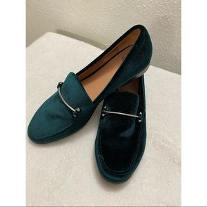 Emerald green velvet loafers